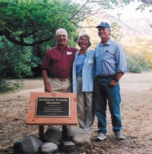 J.J. and Barbara Hollister with Land Trust President John Helmer at the dedication of the Hollister Family Meadow in 2002.
