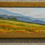 Carpinteria Bluffs by John Iwerks, oil 10x24, $1000